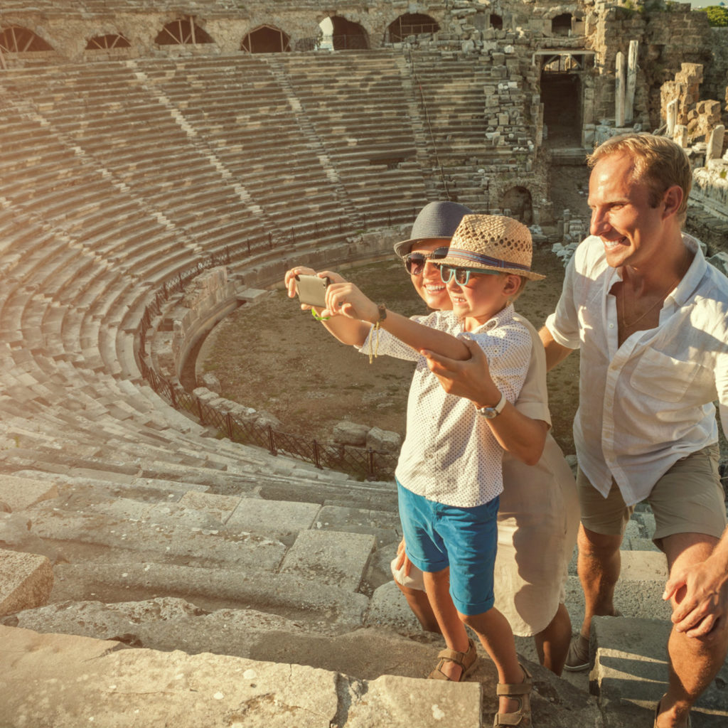 Family in the amphitheatre