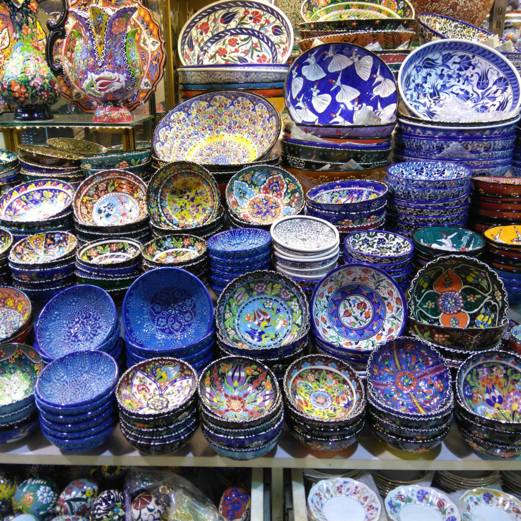 Bazaar in Turkey with ornate cups