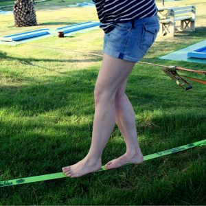 Trying slacklining at TUI BLUE at lower heights.