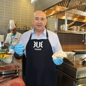 Cooking with the hotel manager, Yavuz, in the kitchen