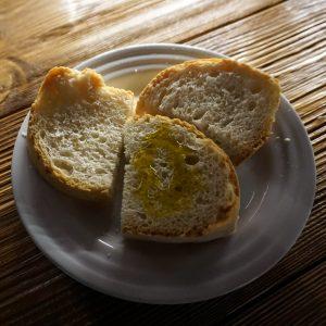 Olive oil on Tuscan bread in Castelfalfi