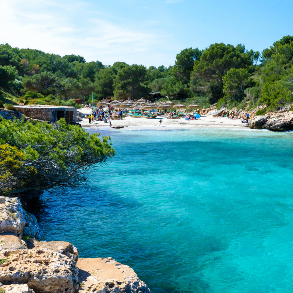 Beaches on mallorca sea people trees bay