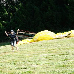 Miri mit Paragliding-Schirm am Hang