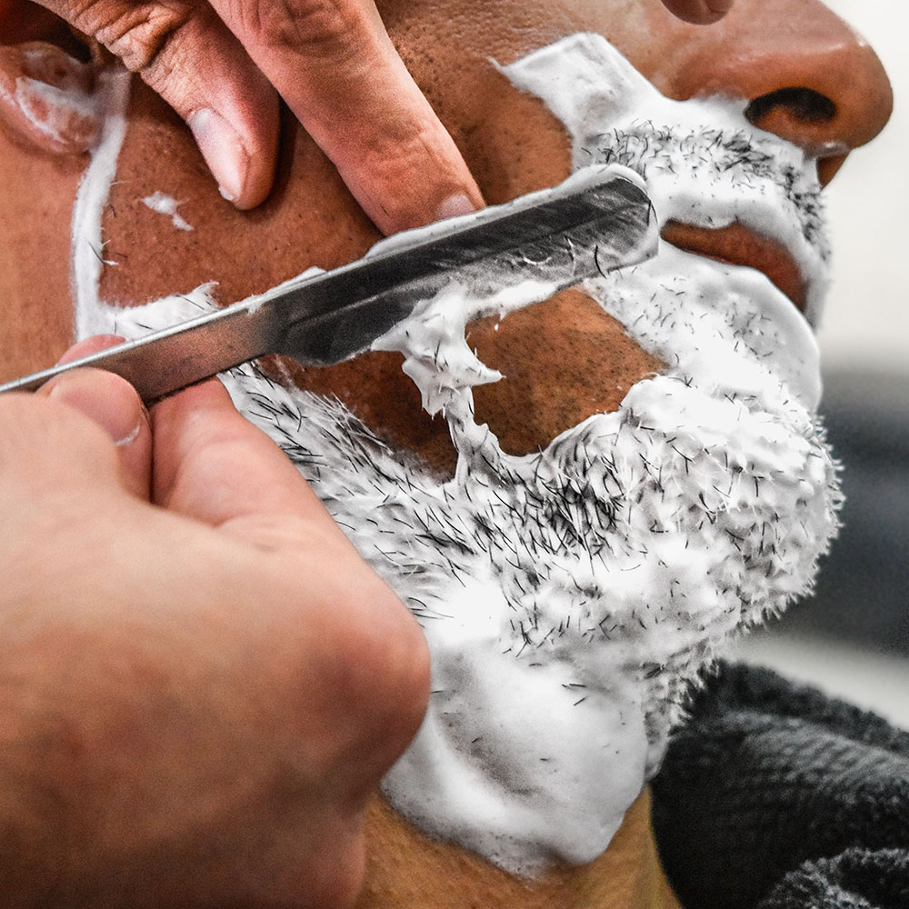 Friseur Rasiermesser Gesicht