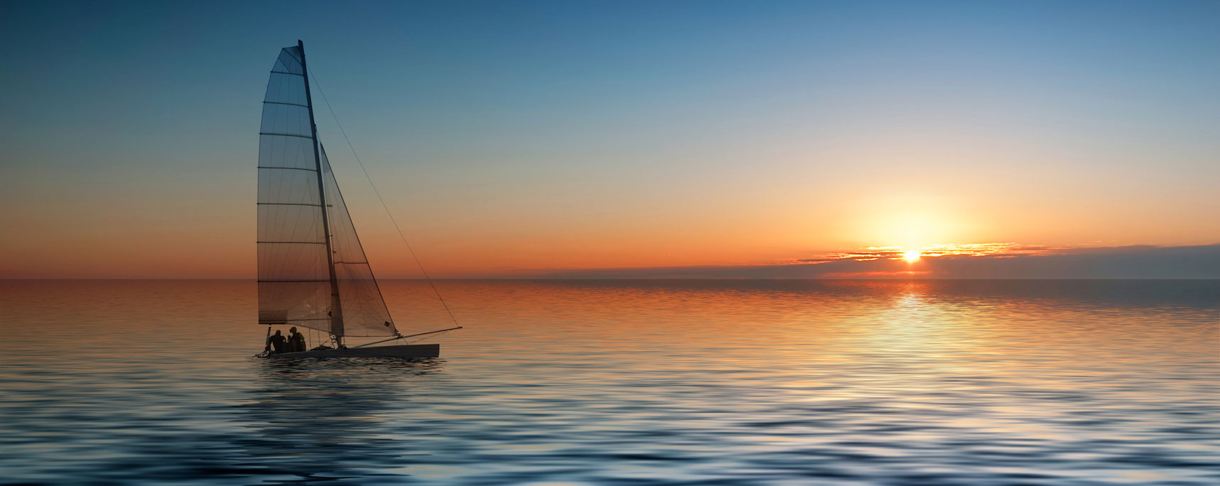 catamaran sonnenuntergang auf see header
