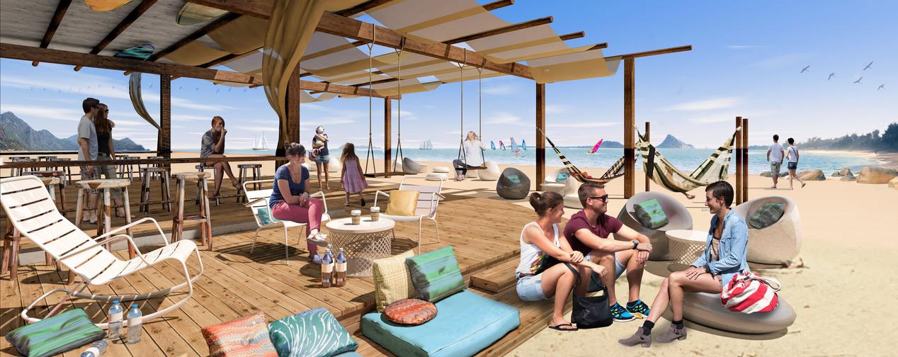 Menschen an Strandbar Liegestühle