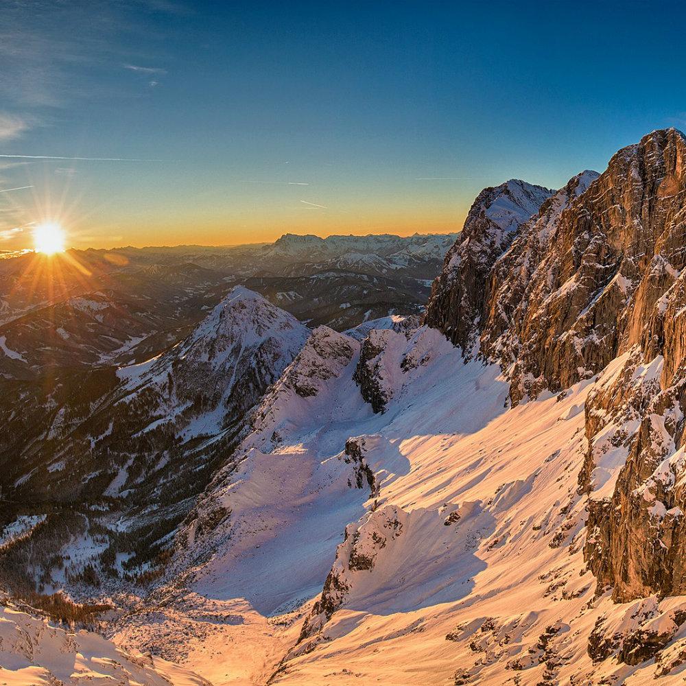 sonnenuntergang skigebiet schladming dachstein