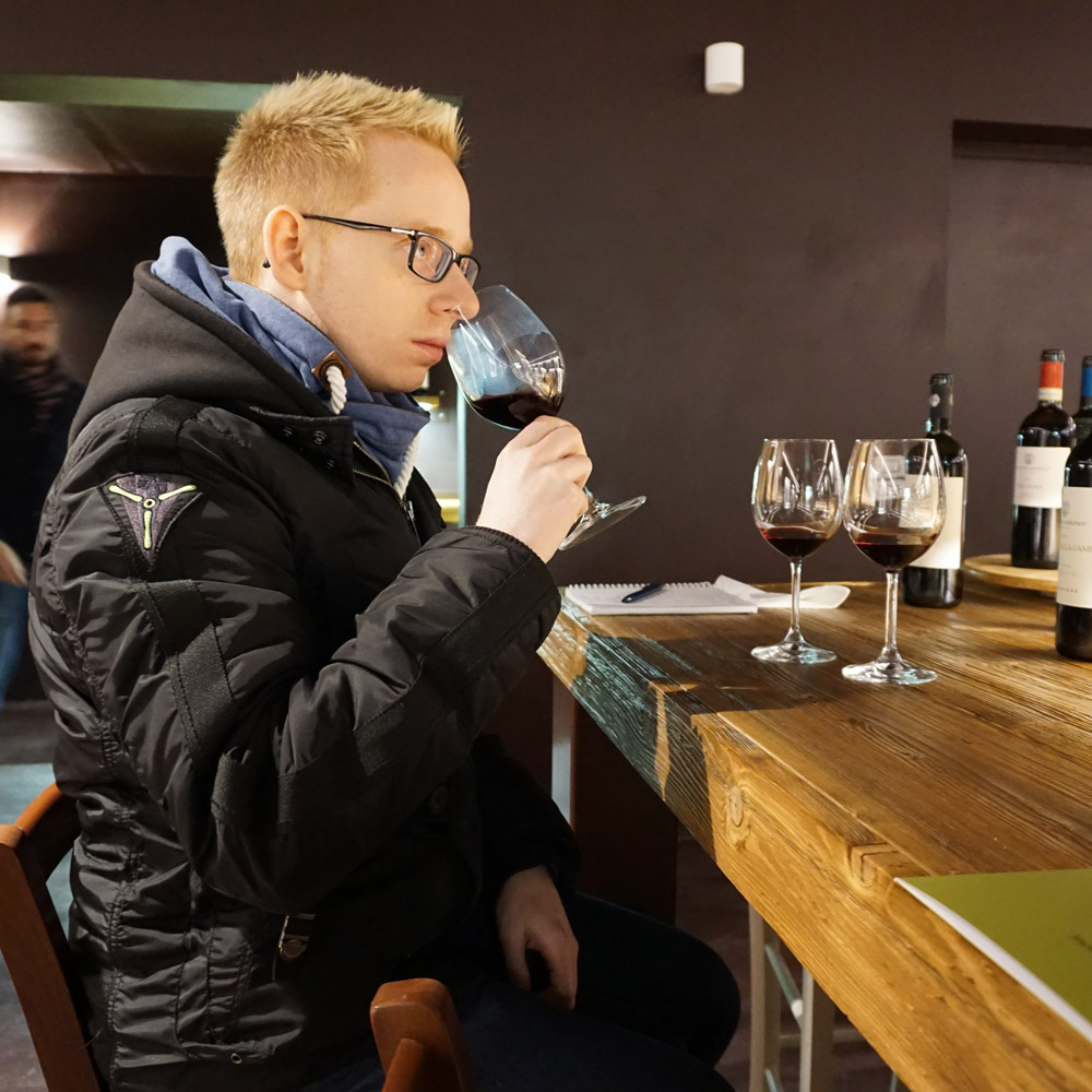 Dirk smelling a wine glass at the Castelfalfi wine tasting