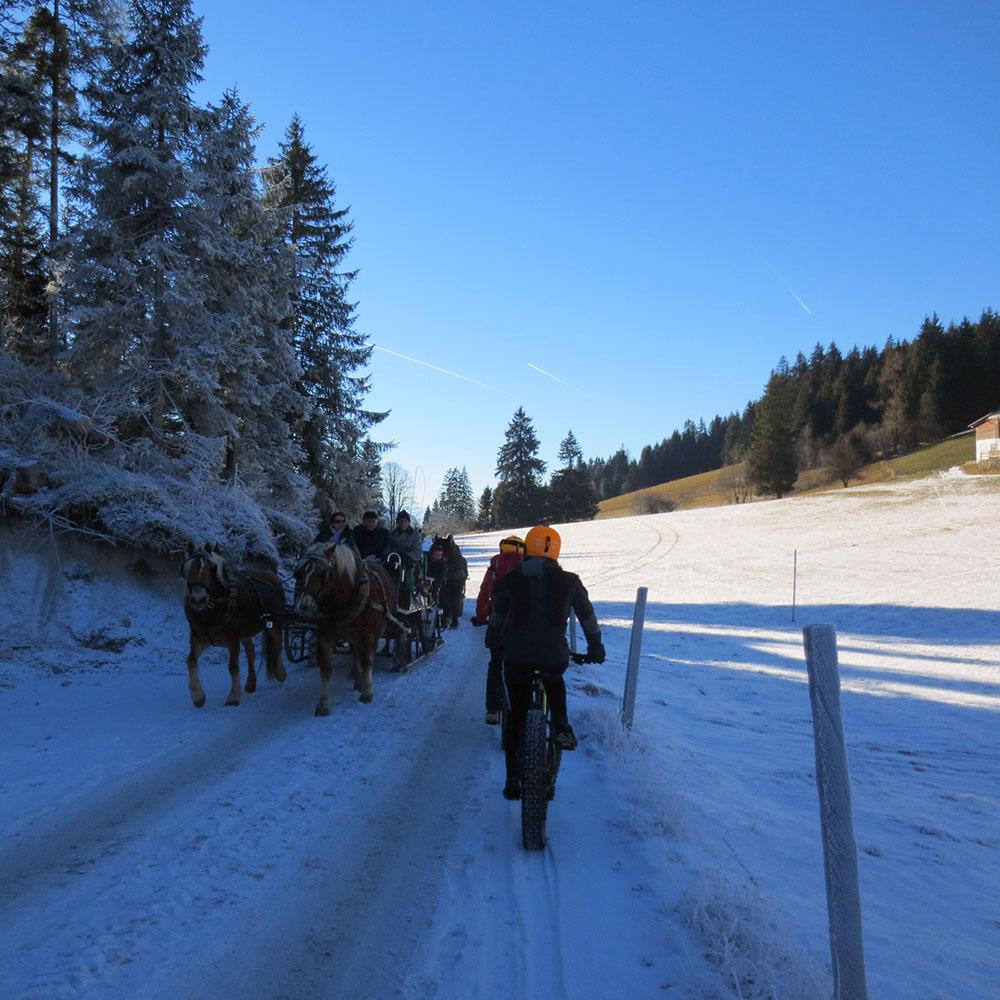 Fatbike fahren auf Schnee Alpen
