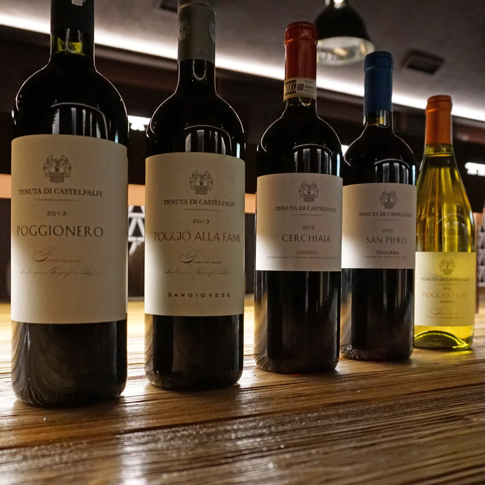 The five wines from the Castelfalfi wine tasting