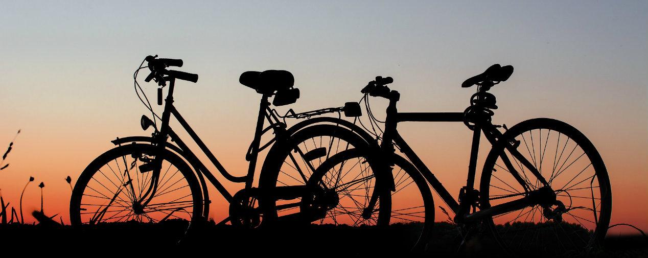fahrräder vor sonnenuntergang