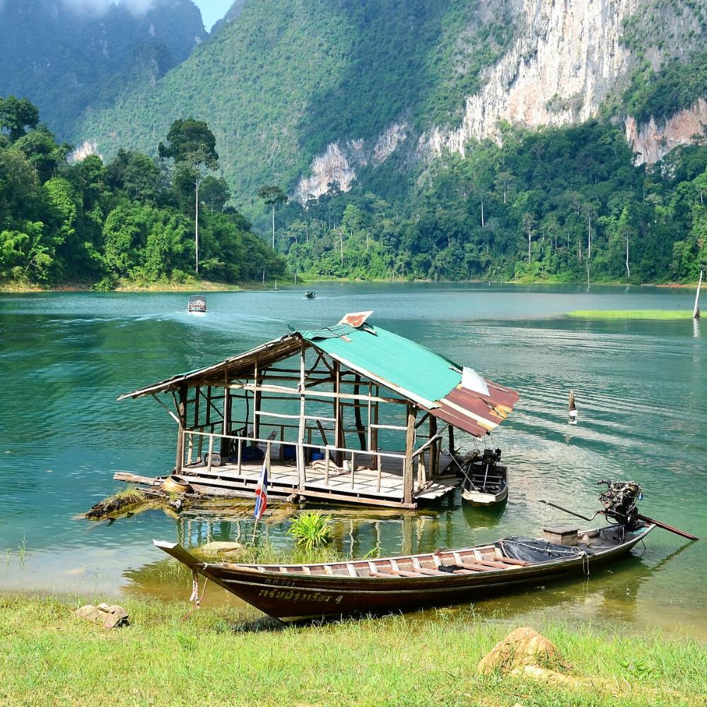 Hausboot Berge Wasser Boot Thailand