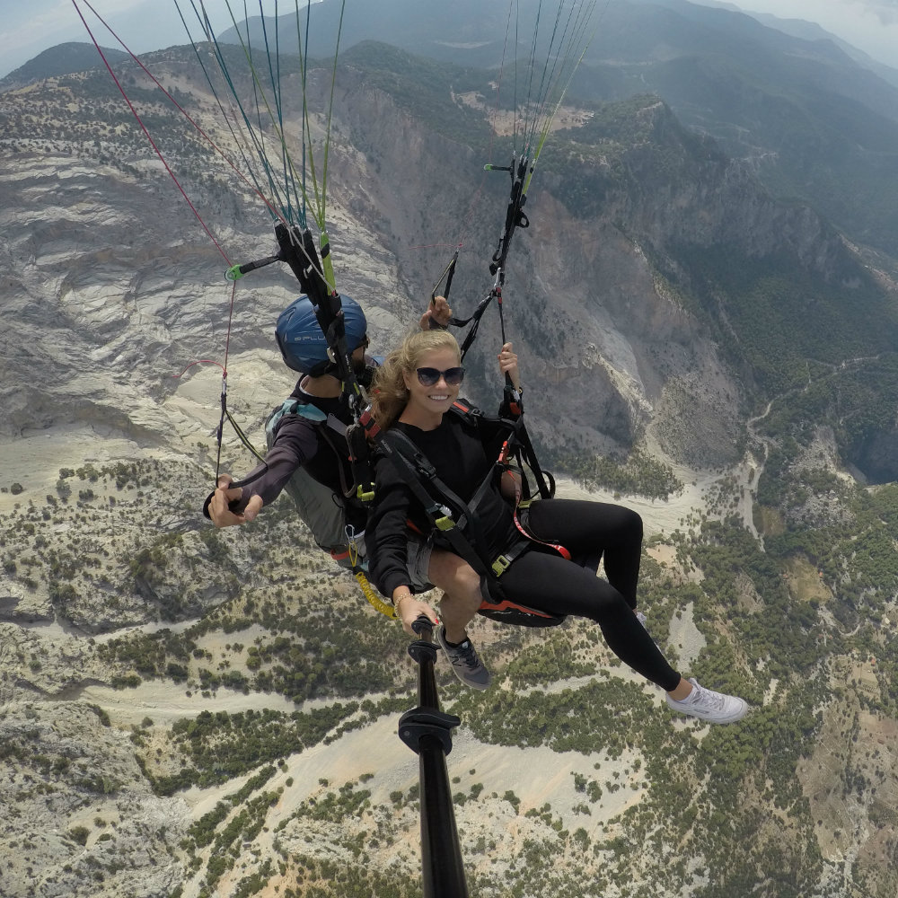 paragliding selfie stick berge felsen