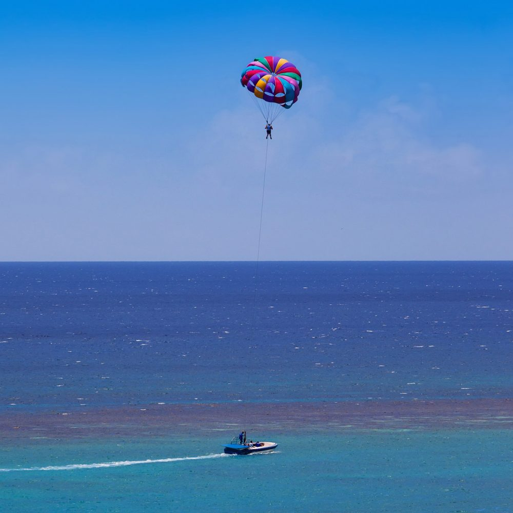 Parasailing over the open sea