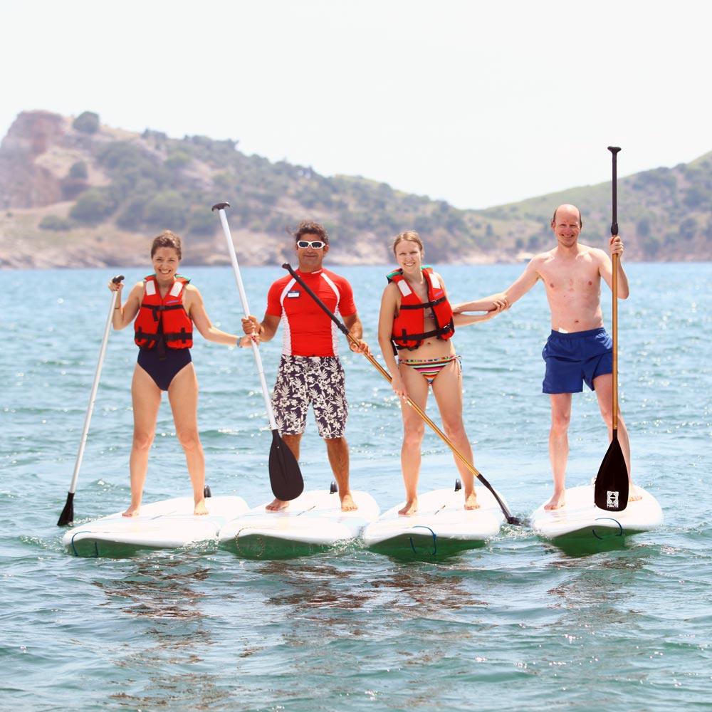 Gruppenfoto beim Stehpaddeln