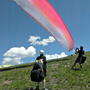 tandem flying paraglider set up