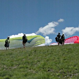 tandem flying paraglider preparations