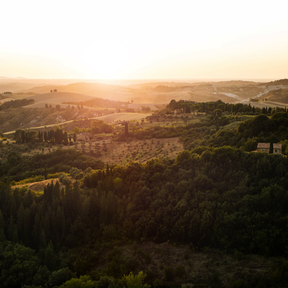 hill sunset tuscany