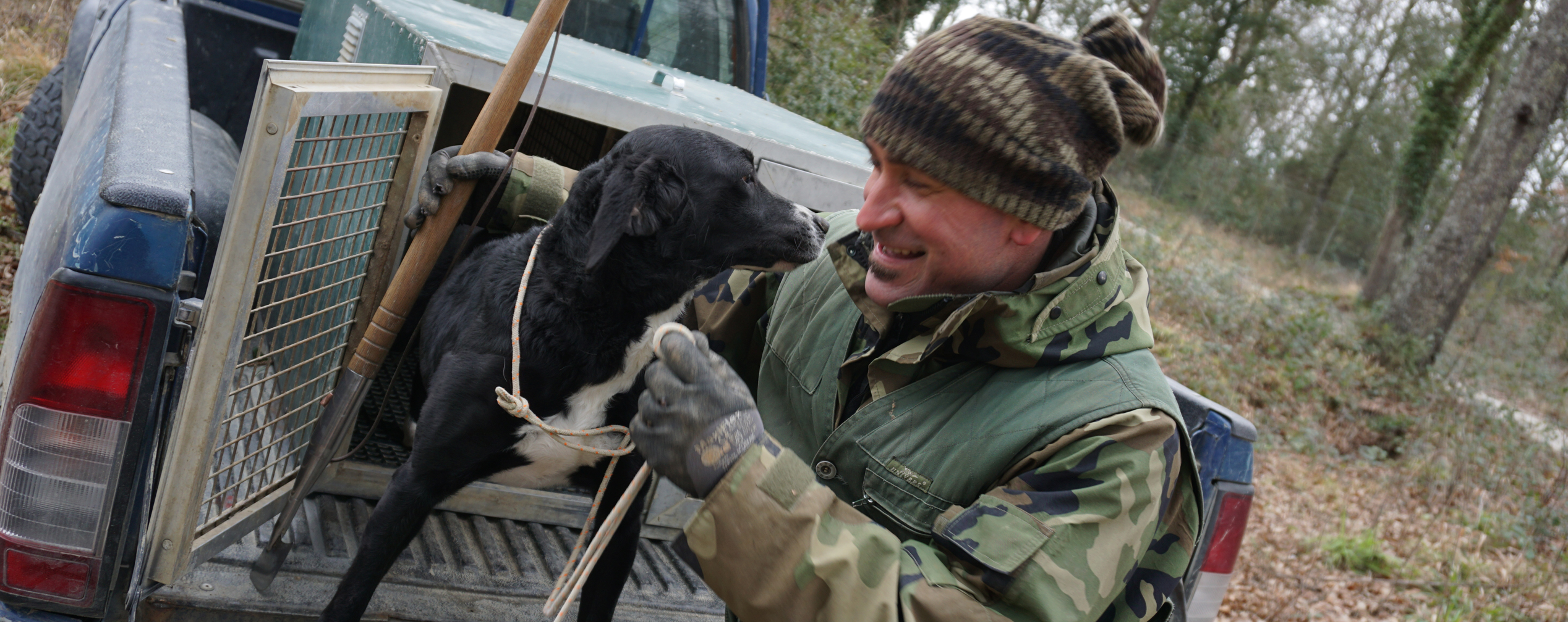 Truffle dog, Artu, with truffle hunter, Matteo